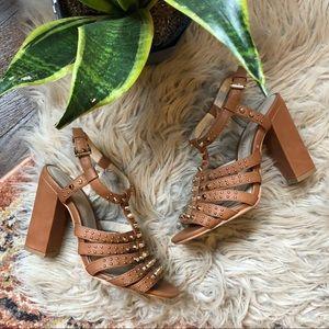 Aldo Tan Studded Strappy Block Heels